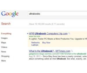 HP Ultrabook anuncio en Google