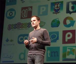 Evan Williams, co-fundador de Twitter, en la conferencia Chrip