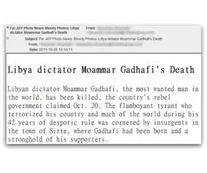 muerte gadafi mail amenaza