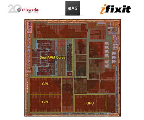 Así es el chip A6 del iPhone 5 visto al microscopio