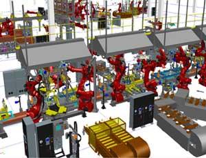 Línea robotizada obtenida con La FábricaDigital de Siemens