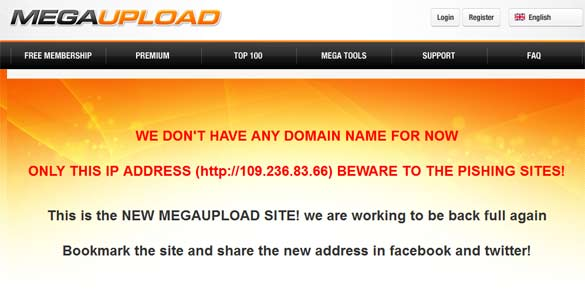 Megaupload paginas falsas phishing