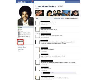 """I love Michael Jackson"" Facebook"