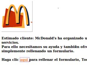 Phishing en McDonald
