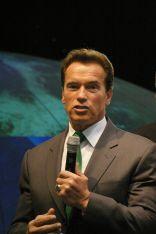 Arnold Schwarzenegger durante su discurso en CeBIT