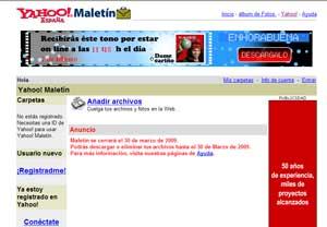 Página de inicio de Yahoo Maletín con el anuncio del cierre