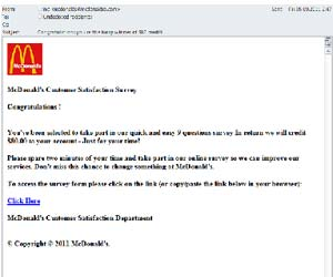 Kaspersky McDonalds spam