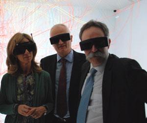 La ministra Garmendia junto a los máximos responsable de T-Systems e IBM, Jordi Casamitjana y Juan Antonio Zufiría.