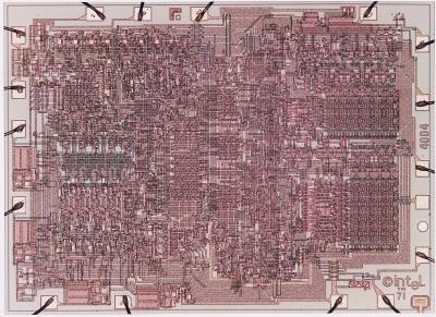 diagrama de pistas del chip intel 4004