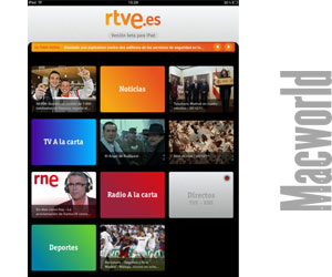 nueva aplicación para ipad de rtve. pantalla de inicio